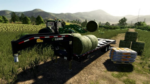 Мод «22Ft Gooseneck Baling Trailer» для Farming Simulator 2019