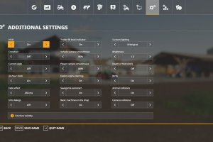 Мод «Additional Game Settings» для Farming Simulator 2019 2